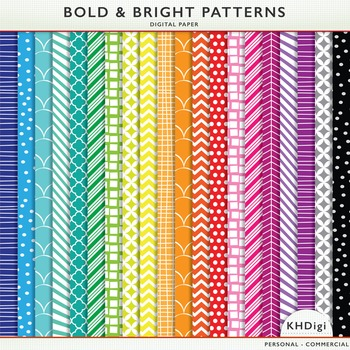 Digital Papers - Bold & Bright Patterns