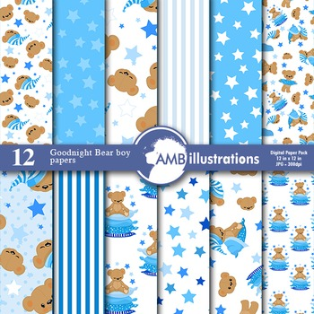Digital Papers - Boys Nursery Teddy bear digital paper and backgrounds - AMB-985