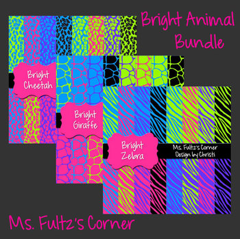 Digital Papers: Bright Animal BUNDLE