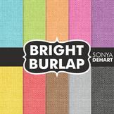 Digital Papers -  Bright Burlap Linen Jute Fabric Textures