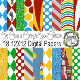 Digital Papers - Bright Colored Circus Themed