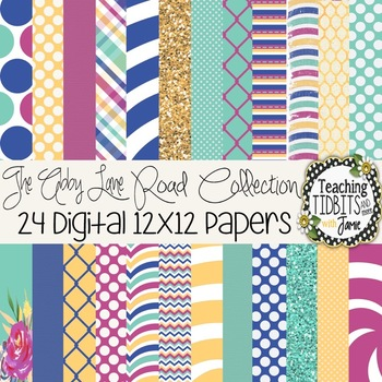 Digital Papers - Bright Colors Abby Lane Collection {Personal and Commercial Use
