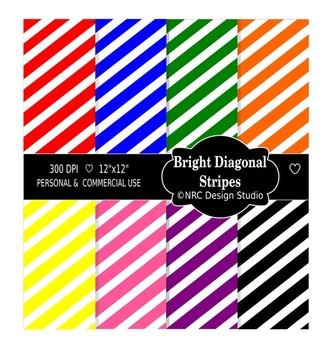 Bright Diagonal Stripes Digital Papers - Printable Papers