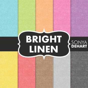 Digital Papers -  Bright Linen Jute Burlap Fabric Textures
