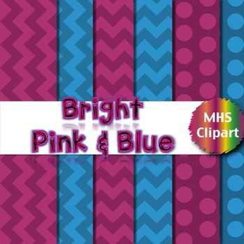 Digital Papers- Bright Pink and Blue