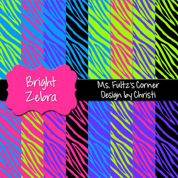 Digital Papers: Bright Zebra