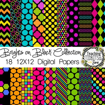 Digital Papers - Brights on Black Collection {Personal or Commercial Use}