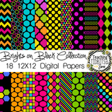 Digital Papers - Brights on Black Collection {Personal or