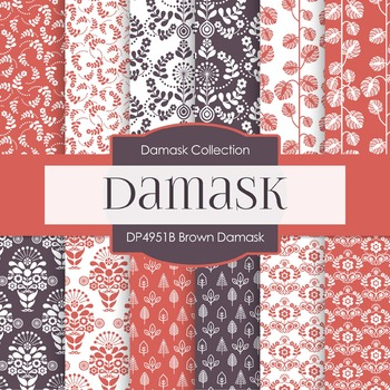 Digital Papers - Brown Damask (DP4951B)