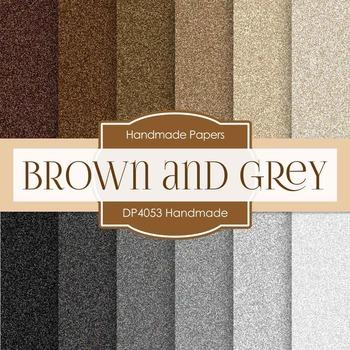 Digital Papers - Brown and Grey Handmade (DP4053)