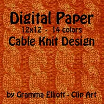 Digital Papers - Backgrounds - Cable Knit Design - 12x12