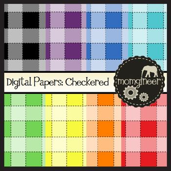 Digital Papers: Checkered Pattern in Bold Colors (Commerci