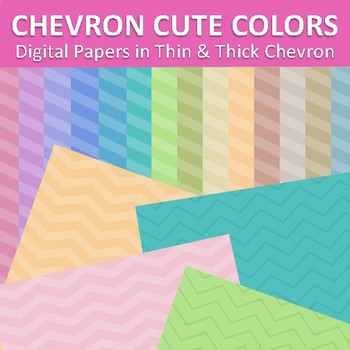 Digital Papers Chevron Cute Pastel Colors