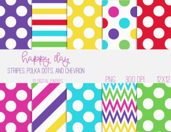Digital Papers - Chevron, Polka Dots, and Stripes