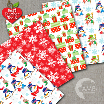 Digital Papers, Christmas Digital Paper and backgrounds, Snowmen, AMB-1518
