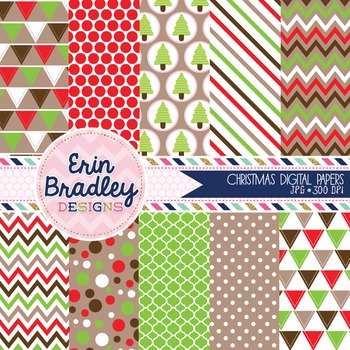 Digital Papers Christmas Holiday Patterns Red Green & Brow