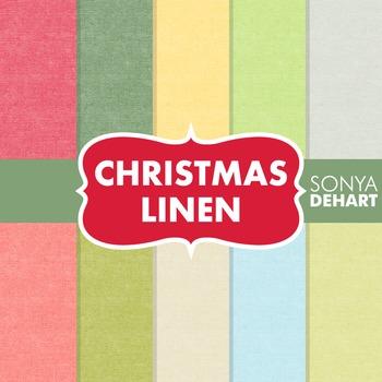 Digital Papers -  Christmas Linen Jute Burlap Fabric Textures