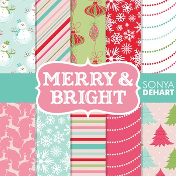 Digital Papers -  Christmas Merry and Bright Patterns