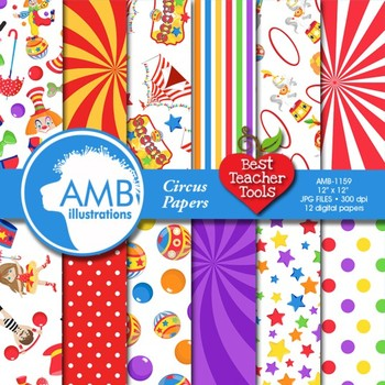 Digital Papers, Circus Carnival Digital Papers and backgrounds AMB-1159