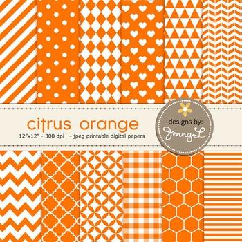 Digital Papers : Citrus Orange