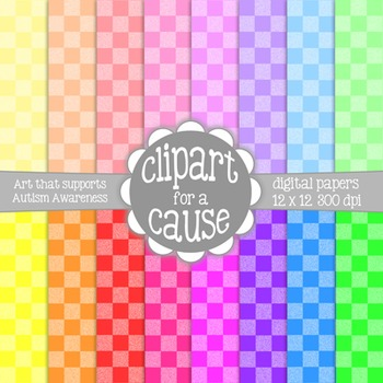 Digital Papers: Colorful 2 Tone Checkerboard Scrapbook Paper - 16 pc -12x12