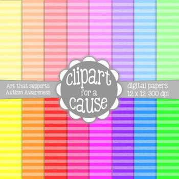 Digital Papers: Colorful 2 Tone Horizontal Stripes Scrapbo