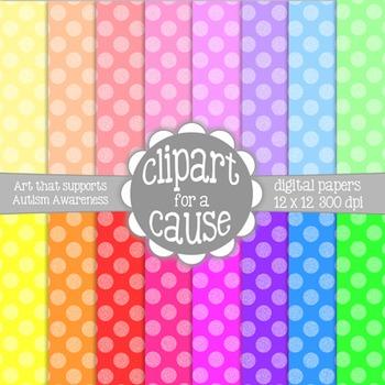 Digital Papers: Colorful 2 Tone Polka Dots Scrapbook Paper - Set 1 -16 pc -12x12