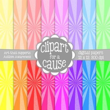 Digital Papers: Colorful 2 Tone Starburst Scrapbook Paper