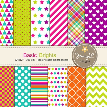 Digital Papers : Colorful Brights