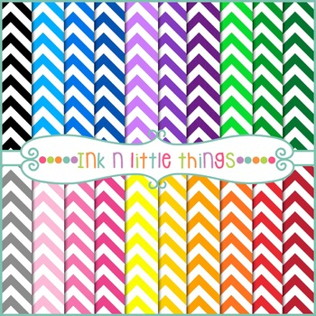 Digital Papers - Colorful Chevron Digital Papers