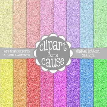 Digital Papers: Colorful Glitter Scrapbook Paper - 16 pc -12x12