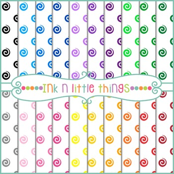 Digital Papers - Colorful Spirals Backgrounds