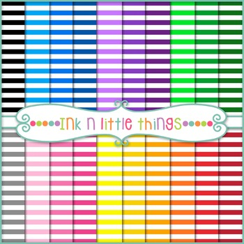 Digital Papers - Colorful Stripes Backgrounds