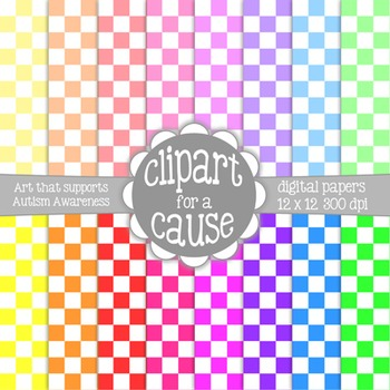 Digital Papers: Colors & White Checkerboard Scrapbook Paper - 16 pc -12x12