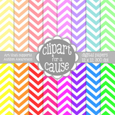 Digital Papers: Colors & White Chevron Scrapbook Paper - 1
