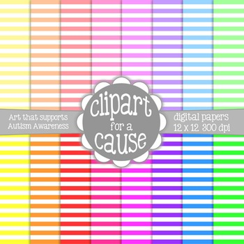 Digital Papers: Colors & White Horizontal Stripes Scrapbook Paper - 16pc - 12x12