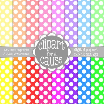 Digital Papers: Colors & White Polka Dots Scrapbook Paper - Set 1 -16 pc -12x12