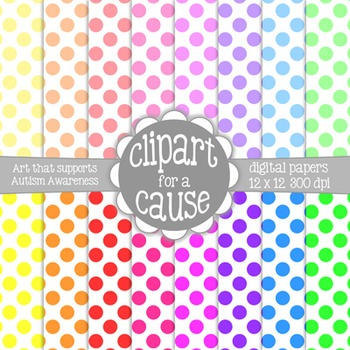 Digital Papers: Colors & White Polka Dots Scrapbook Paper - Set 2 -16 pc -12x12
