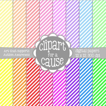 Digital Papers: Colors & White Small Diagonal Stripes Scrapbook Paper-16pc-12x12