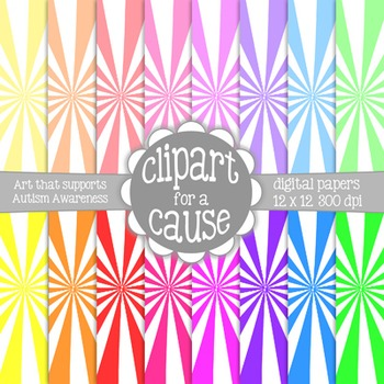 Digital Papers: Colors & White Starburst Scrapbook Paper - 16 pc -12x12