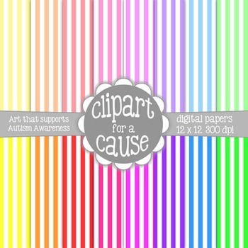 Digital Papers: Colors & White Vertical Stripes Scrapbook