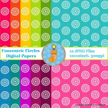 Digital Papers Concentric Circles Rainbow