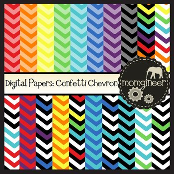 Digital Papers: Confetti Chevrons in Bold Colors (Commercial Use Graphics)