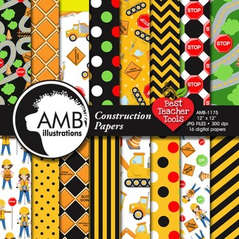 Construction Digital Papers, Truck Digital Papers and backgrounds, AMB-1175