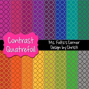 Digital Papers: Contrast Quatrefoil