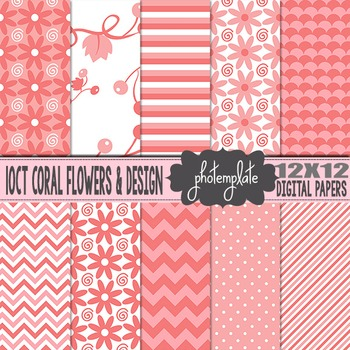 Digital Papers: Coral Floral Scrapbooking Paper