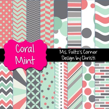 Digital Papers: Coral Mint
