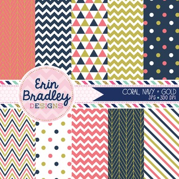 Digital Papers - Coral Navy Blue & Gold