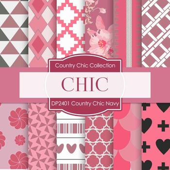 Digital Papers - Country Chic Navy (DP2401)