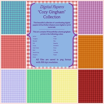 Digital Papers Cozy Gingham Collection
